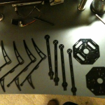 Quadrotor parts cut from via a CNC