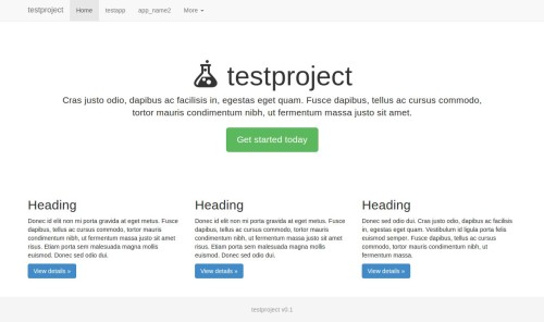 Screenshot with the project template up and running.